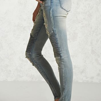 Distressed Moto Skinny Jeans