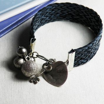 Bracelet Plaited dark blue cords and charms by emeeme on Etsy