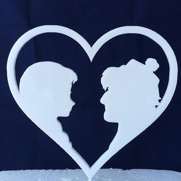 Frozen Anna & Kristoff in Heart - Disney - Cake Topper - Acrylic - Wedding