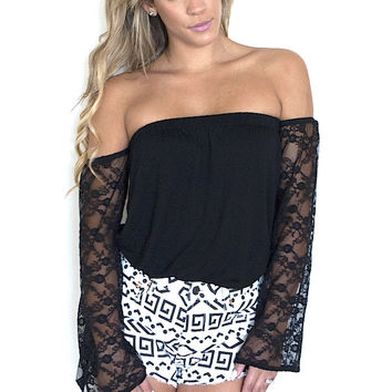 Not that Basic Off Shoulder Top - Black