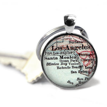 Custom Los Angeles Map Keychain, California Keychain for men, Dad Keychain, Man Gift, Grandpa Keychain, Personalized Key Chain for Him