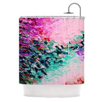 "Ebi Emporium ""Romantic Getaway"" Pink Teal Shower Curtain"