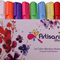 Artisan's Effect® Liquid Chalk Window Marker -  Chalk Marker with No-Odor Vibrant Bright Color  for Glass Tile Plastic Metal and poster board - 8 Pack