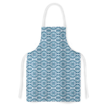 "Empire Ruhl ""Blue Circle Abstract"" Navy Geometric Artistic Apron"