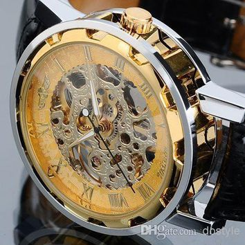 Lowest Price Luxury Men Mechanical Watch women Mechanical Skeleton Gold Sliver wristwatch Winner Hollow Stainless Steel Black Leather Band