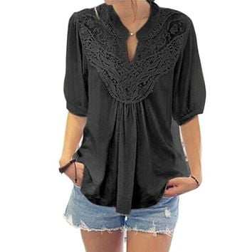 Peplum Ruffle Half Sleeve Lace Vintage Style Hollow Out Cotton Linen Causal Tunic Blouse
