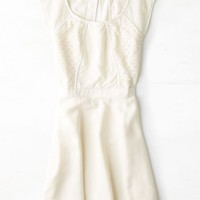 AEO Women's Crocheted Paneled Dress (Cream)