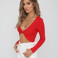 Buy Our Around The Twist Crop in Red Online Today! - Tiger Mist
