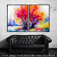 Colorful tree landscape watercolor painting print, tree art, nature art, watercolor landscape, landscape painting, original watercolor,
