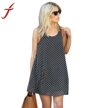 Women Sexy Polka Dot Sleeveless Summer Beach Dress