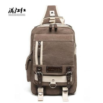 MANJIANGHONG Hot Sale Fashion Patchwork High Hipster Canvas Crossbody Bags Men Chest Travel Bag Casual Messenger Bags Knapsacks