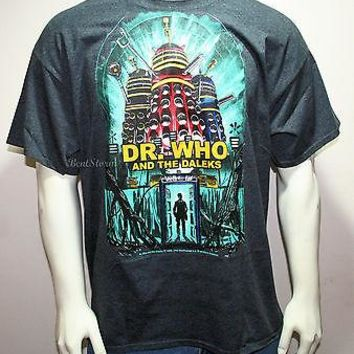 Licensed cool DR DOCTOR WHO and the DALEKS POSTER DALEK ROBOT TARDIS MENS T-Shirt Tee XL-2X