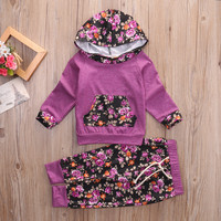 2pcs suit !!! Toddler Kids Baby Boys Clothes Floral Hooded Tops Jacket +Pants Outfits winter autumn  Set
