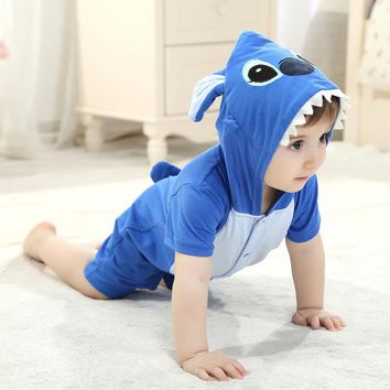 Summer Baby Clothes Short Sleeve Rompers Cartoon Animal Stitch Panda Cosplay Photo Props Jumpsuit Newborn Infant Sleepers Hooded
