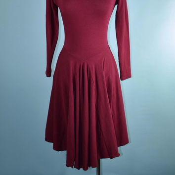 Vintage 70s Burgundy Jersey Knit Flare Swing Disco Dress with Panties S
