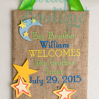 Embroidered Burlap Birth Announcement Baby Nursery Door or Wall Hanging