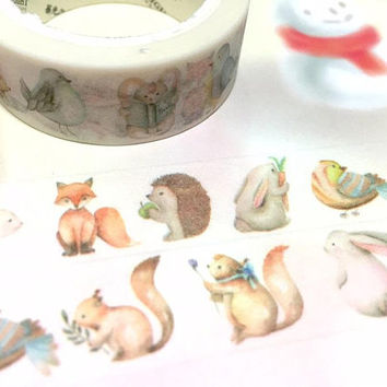cute animal washi tape 8m rabbit fox hedgehog squirrel bird teddy bear forest animal sticker tape adorable nursery animals kids craft gift