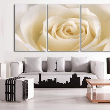 3 Piece Romantic Canvas Painting rose flower