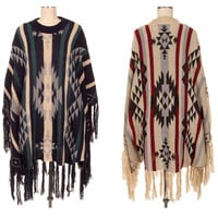 Women AZTEC KNIT HIGH-NECK FRINGED HEM PONCHO WRAP Shawl Long COVER UP Long