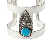 Silver Burnished Turquoise Cuff Bracelet by Charlotte Russe