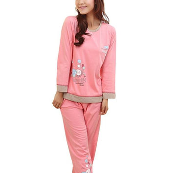 Hot Sale! Women's Cute Cartoon Balloon Pattern Long Sleeve Cotton Pajamas Set Sleepwear Sleep Clothes 36