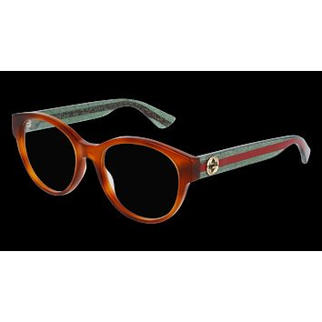 Gucci - GG0039O-002 Avana Green Eyeglasses / Demo  Lenses