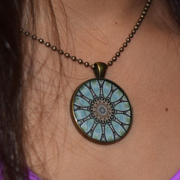 Blue Flower Mandala Necklace