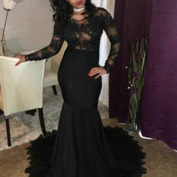 B| Chicloth Black Mermaid Prom Dresses | Sheer Long Sleeves Evening Gowns