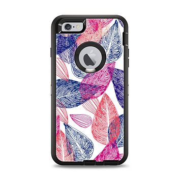 The Seamless Pink & Blue Color Leaves Apple iPhone 6 Plus Otterbox Defender Case Skin Set