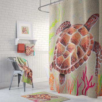 Sea Turtle Shower Set - Tan Turtle coastal, tan and brown, shower curtain, mat, towels, green, extra long
