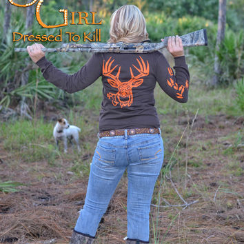 Brown pocket long sleeve with orange hunting big buck head
