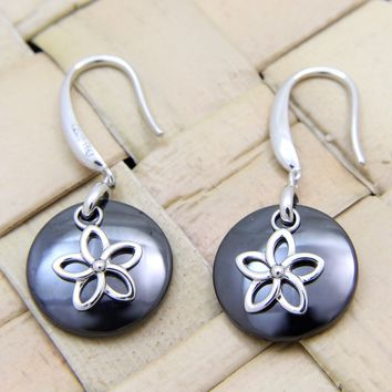 925 Silver Rhodium Hawaiian Plumeria Flower Black Ceramic Circle Hook Earrings