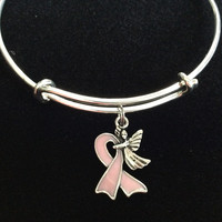 Guardian Angel Pink Awareness Ribbon Expandable Charm Bracelet Adjustable Bangle Meaningful Gift Breast Cancer (Other Awareness Ribbons Available)