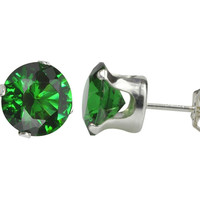 Sterling Silver 925 Round Emerald Green CZ Stud Earrings