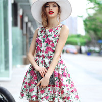 Flower Printed Plaid Sleeveless Dress