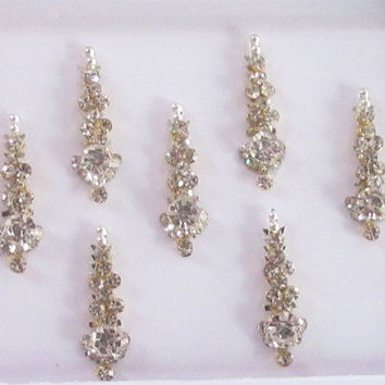 7 Wedding Silver Rhinestones Studded Face Jewels/Indian Bindis/Bindi Sticker/Bindi Jewels/Face Jewels/Silver long bindis/silver jewels