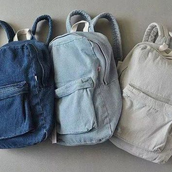 DCCKHQ6 Retro simple AA denim backpack bag men and women backpack large capacity bag casual solid color