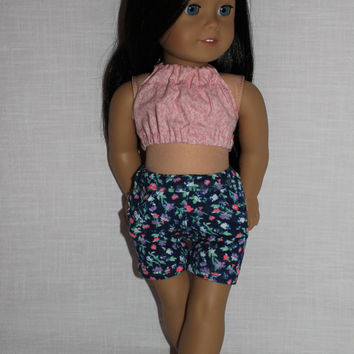 pink floral halter crop top,  floral stretchy shorts with pockets, 18 inch doll clothes, American girl, Maplelea