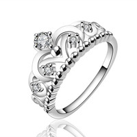 Gorgeous Princess Crown Ring in Sterling Silver Size 7