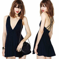 Sexy Deep V-neck Halter Cross Strap Chiffon Dress