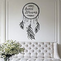 Dream Catcher Wall Decal Sweet Dreams Art Feather Decor Night Symbol Boho Vinyl Decal Bohemian Bedding Decal Bedroom Nursery Decor MN1028 (39x22)