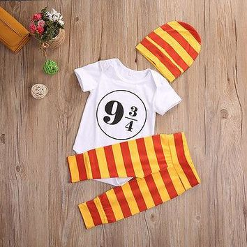 3Pcs Newborn Baby Clothes Short Sleeves Cotton Romper +Striped Pant +Hat Outfit Children Suit 0-18M