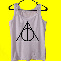 Deathly Hallows tank top womens and mens,unisex adults standard fit cut and double stiched on neck and shoulders