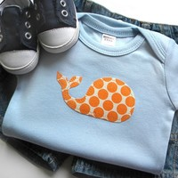 Newborn Baby Boy Clothes // Bodysuit // size 0-3 months //  Whale Applique