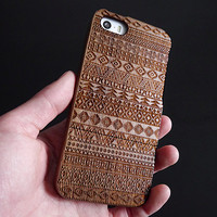 Wood iPhone 5 case - Aztec iPhone 5s case - Wooden iPhone 5C case - Wood iPhone 4S case - iPhone 4 case - Tribal - 18