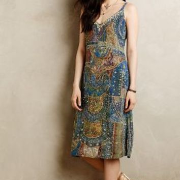 Sennen Beaded Silk Dress by Leifsdottir Blue Motif