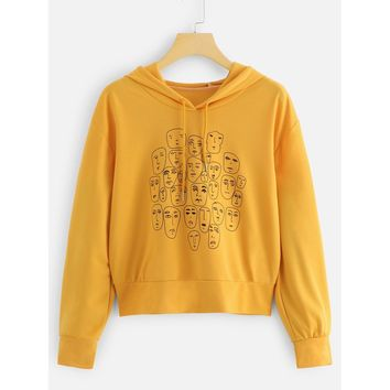 Plus Figure Print Sweatshirt