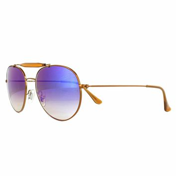 Ray-Ban Sunglasses RB3540 198/8B Round Copper Blue Mirrored Aviator Style 140mm