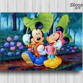Mickey And Minnie Print Mouse Poster Diseny Wall Art