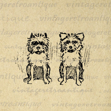 Little Yorkie Dogs Digital Image Graphic Cute Download Illustration Printable Vintage Clip Art for Transfers etc HQ 300dpi No.3092